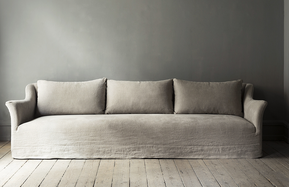 Classic sofa with linen upholstery designed by Studio Oliver Gustav