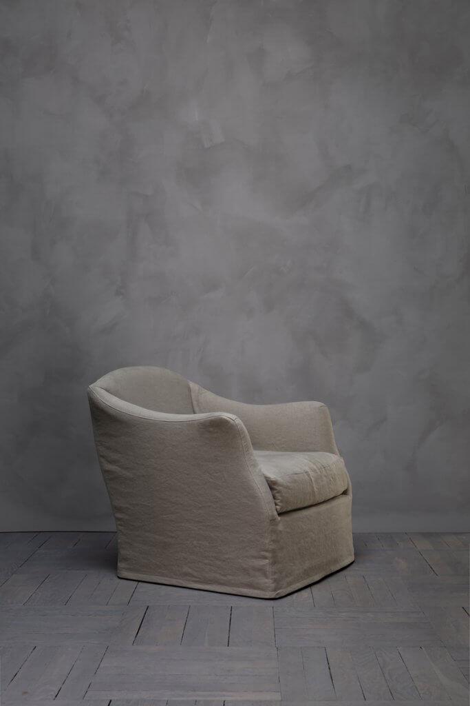 Armchair with linen or hemp upholstery designed by Studio Oliver Gustav