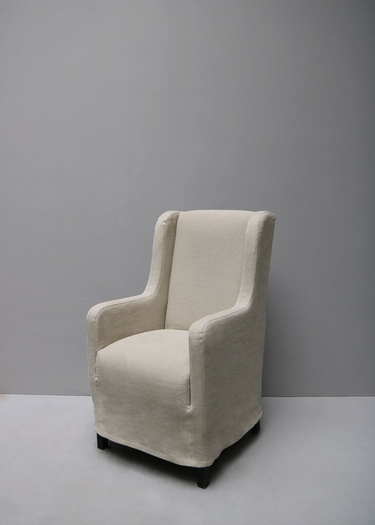 Dining armchair with linen or hemp upholstery by the danish designer Oliver Gustav