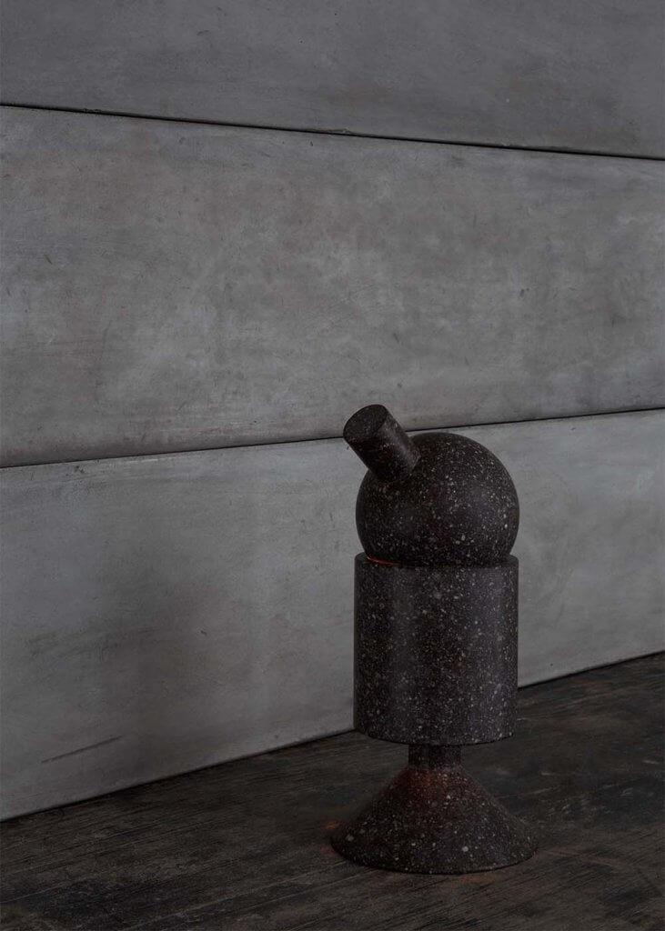 Light sculpture in basalt by Stefano Galuzzi at Studio Oliver Gustav
