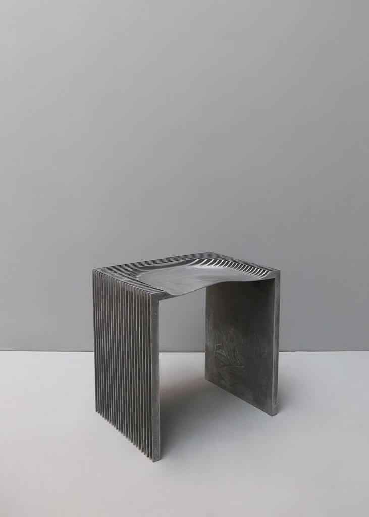 Stool in aluminum made by designer Jan Janssen