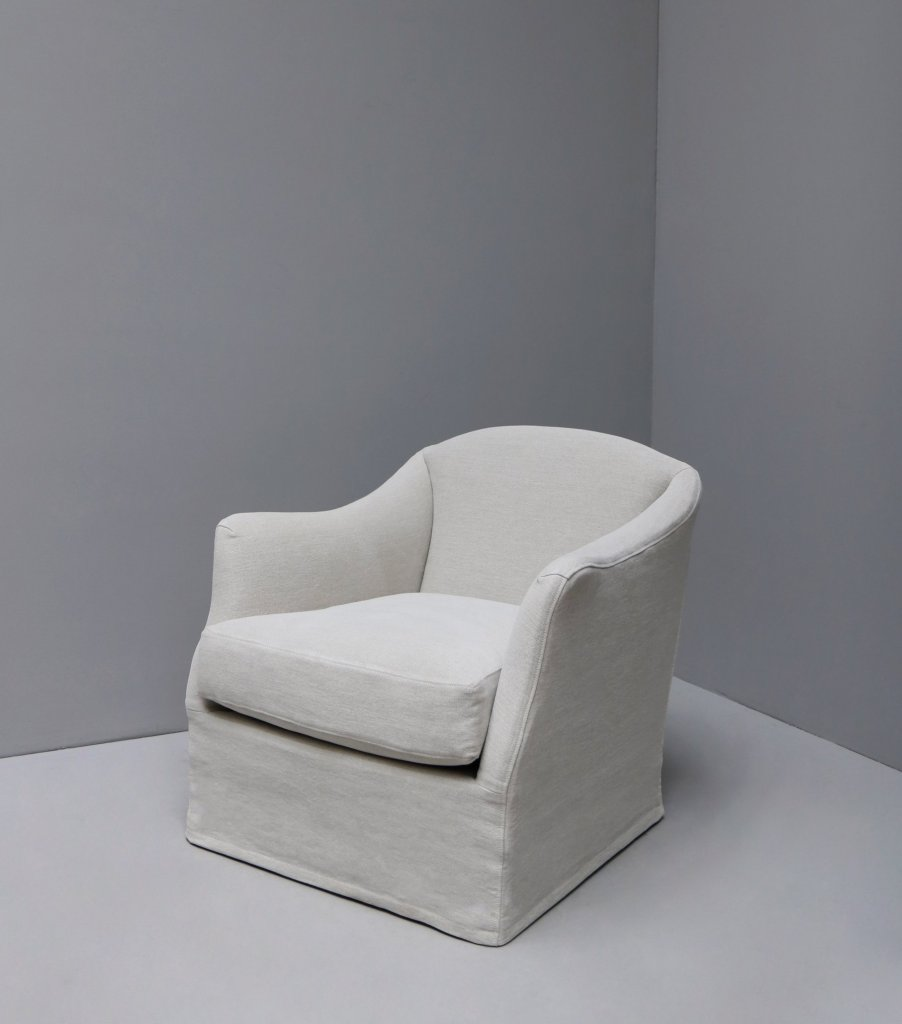 Armchair with linen or hemp upholstery designed by Studio Oliver Gustav