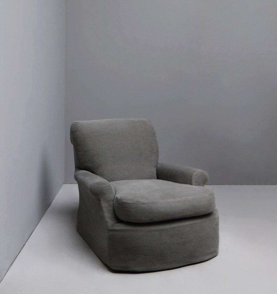 Lounge armchair with linen upholstery made by danish designer Oliver Gustav. Scandinavian aesthetic