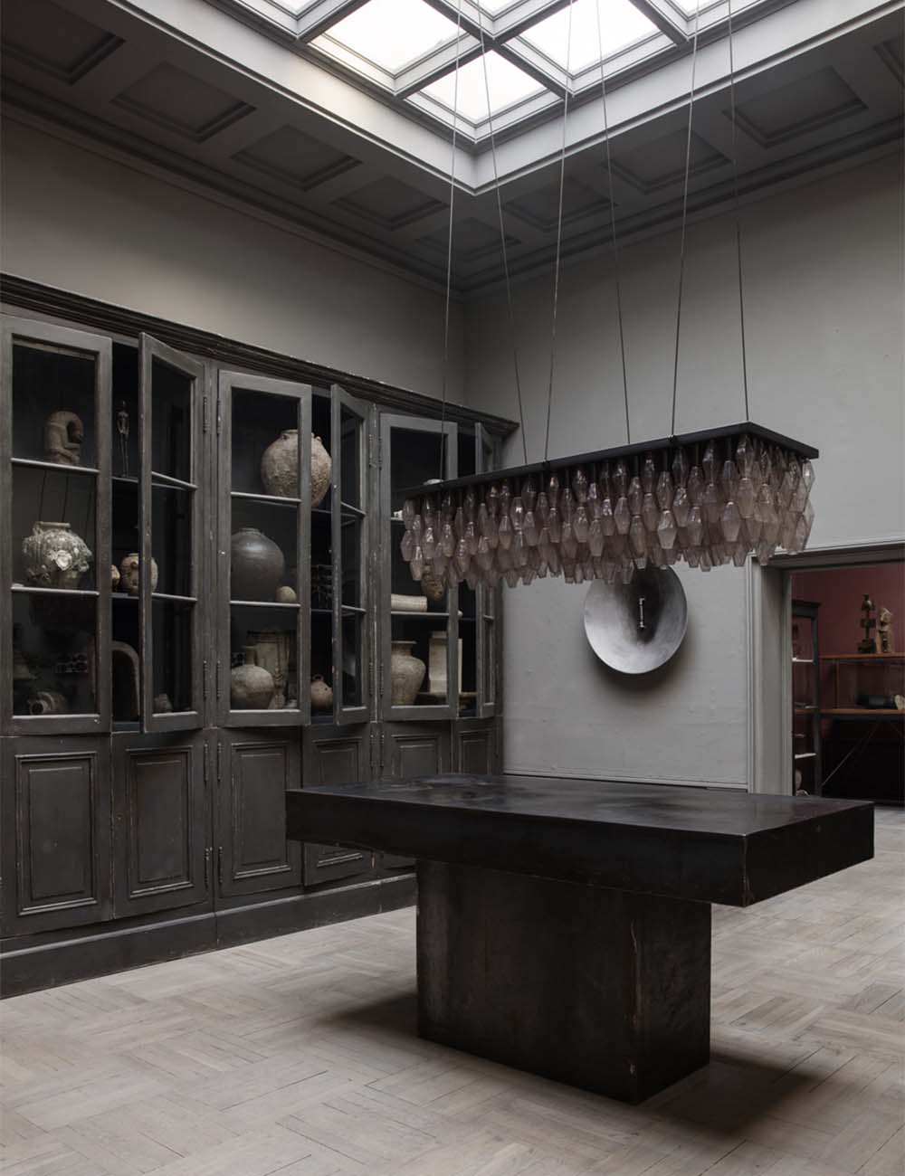Murano glass lamp and wunderkammer of antiques at Studio Oliver Gustav