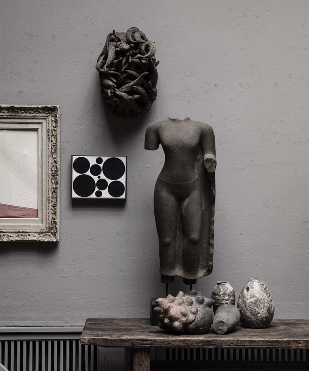 Antique stone sculptures and paintings at Studio Oliver Gustav