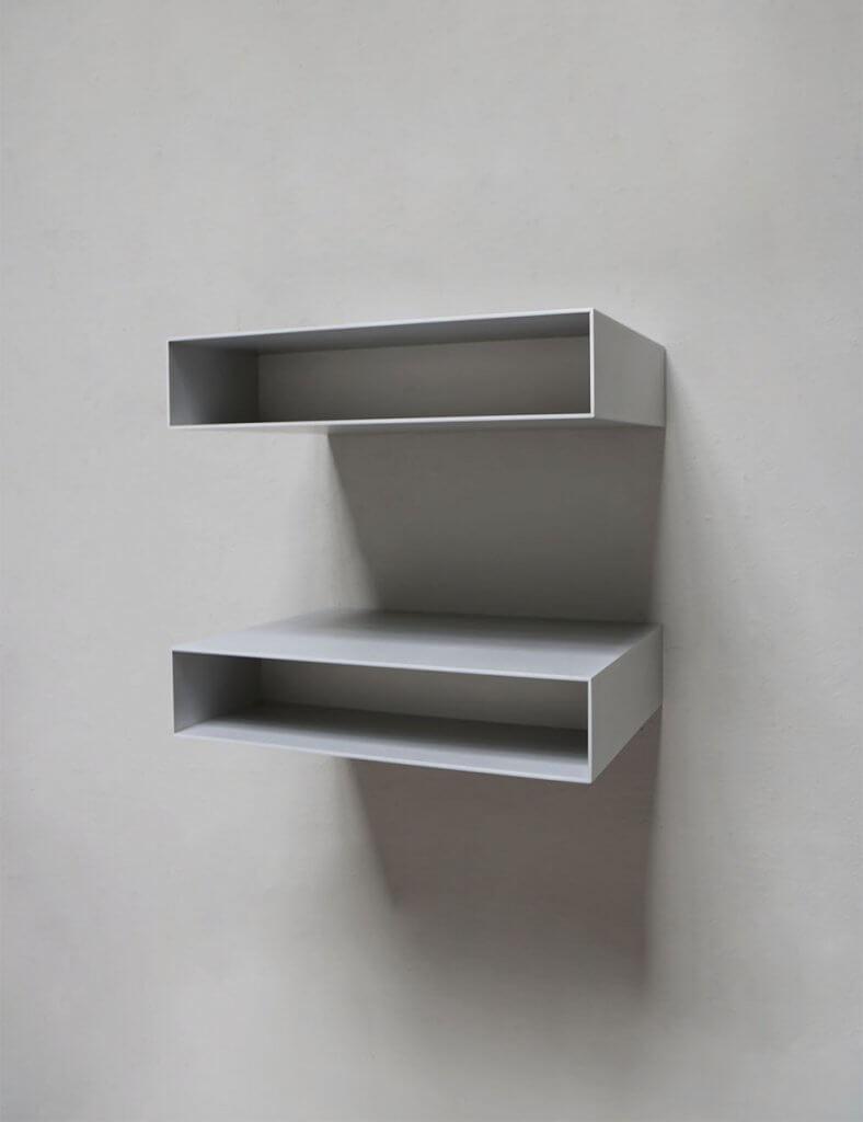 Aluminium minimalistic shelf by Oliver Gustav.