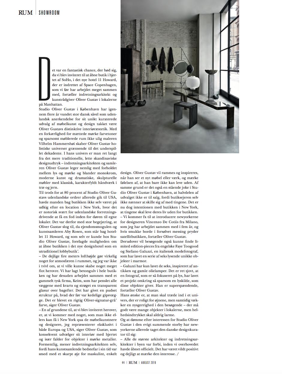 Rum interior design magazine interview Studio Oliver Gustav