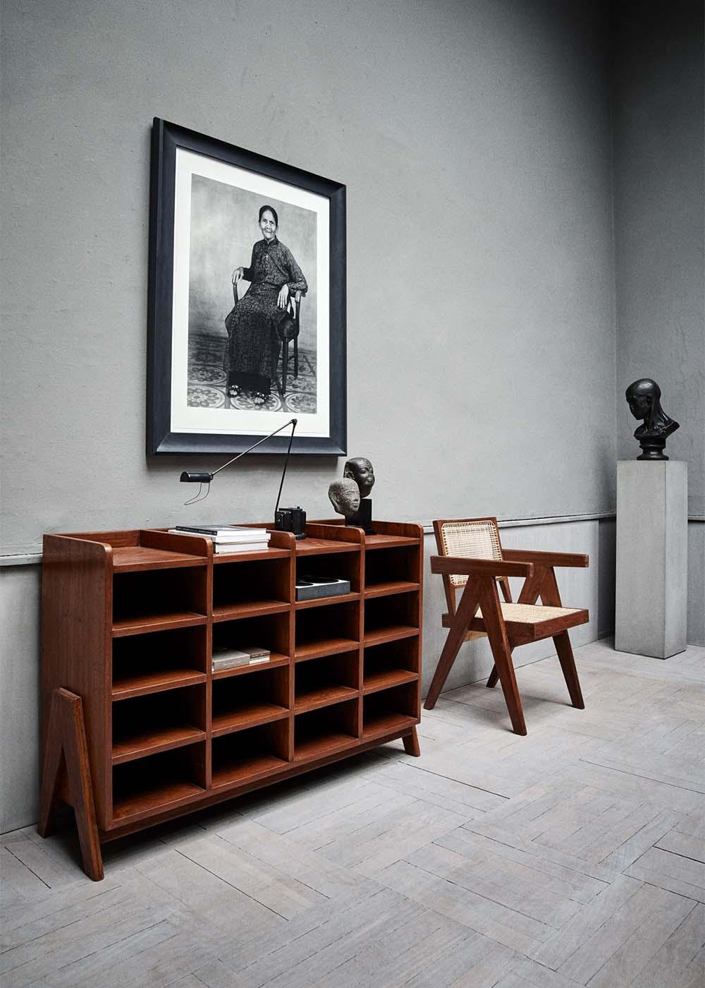 Pierre Jeanneret wooden funiture shown at Studio Oliver Gustav