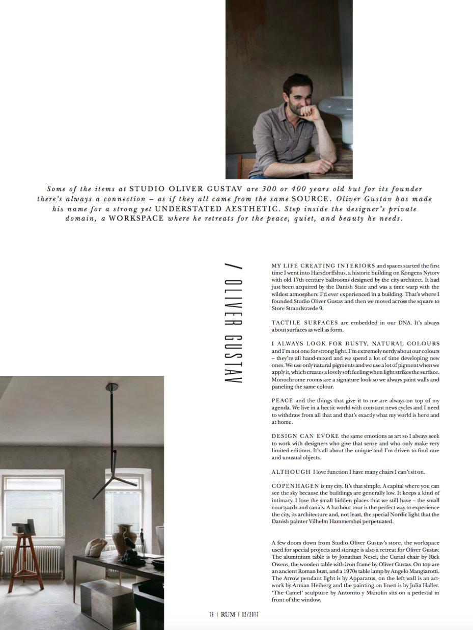 RUM magazine article and interview with studio Oliver Gustav