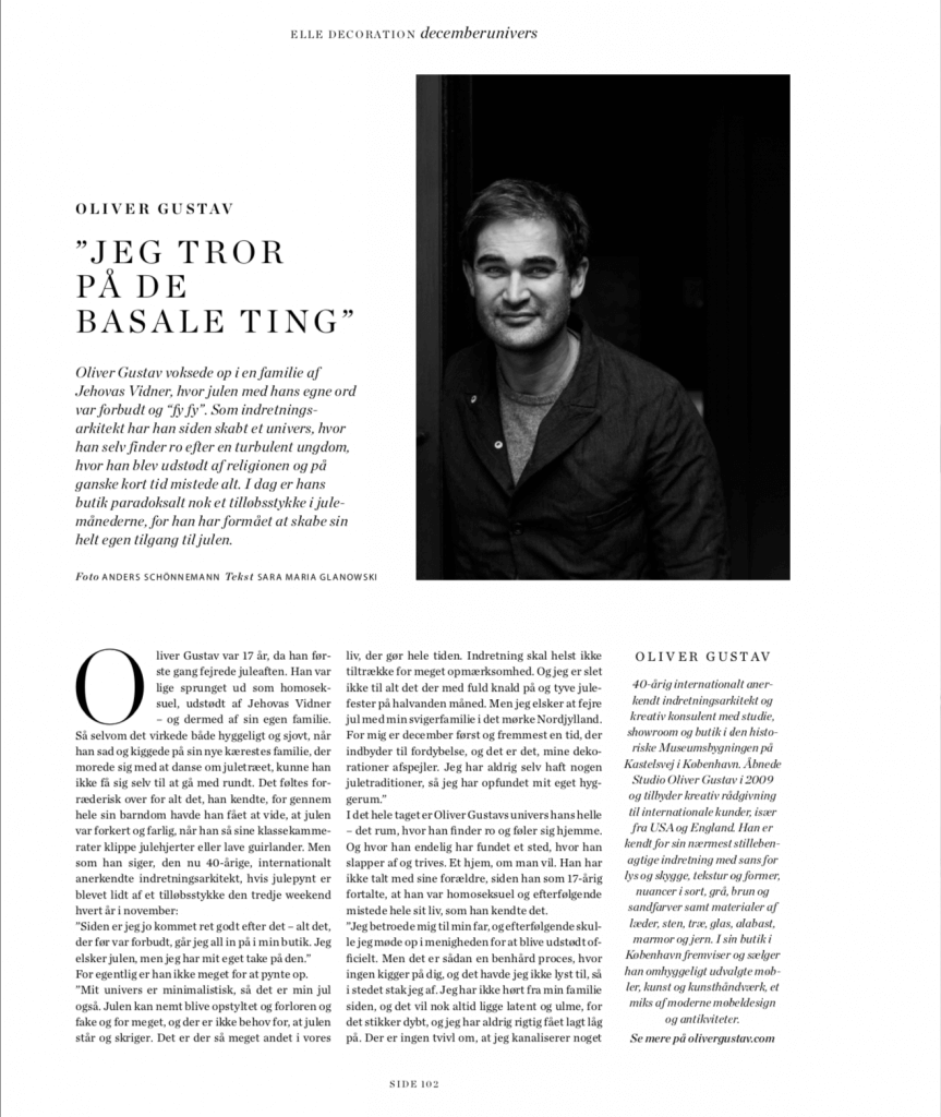 Interview with Oliver Gustav in Elle decoration magazine