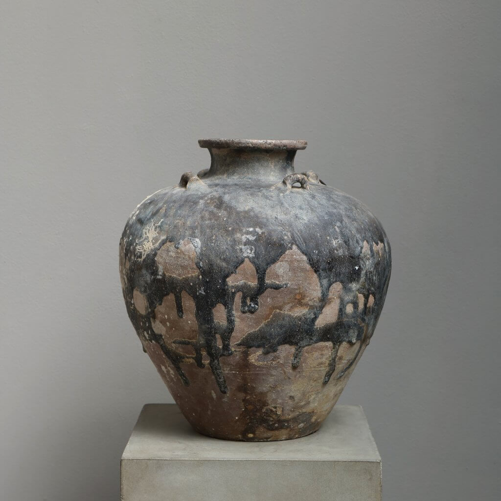 Antique jar in terra cotta excavated from a Vietnamese shipwreck at Studio Oliver Gustav