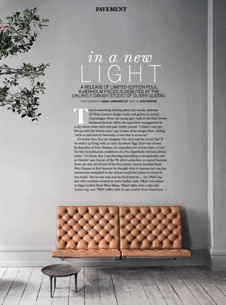 Vogue Living australia interview Oliver Gustav