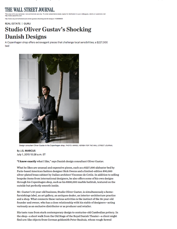 Wall Street Journal interview Studio Oliver Gustav
