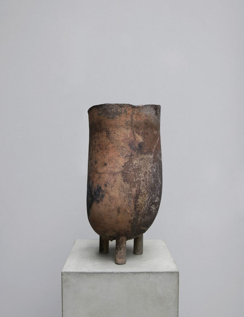 Large vessel in copper and brass by german designer peter bauhuis