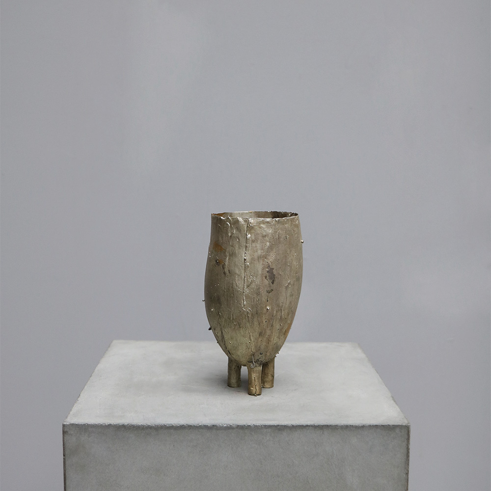 Silver and Brass Vessel - Tall by german designer Peter bauhuis