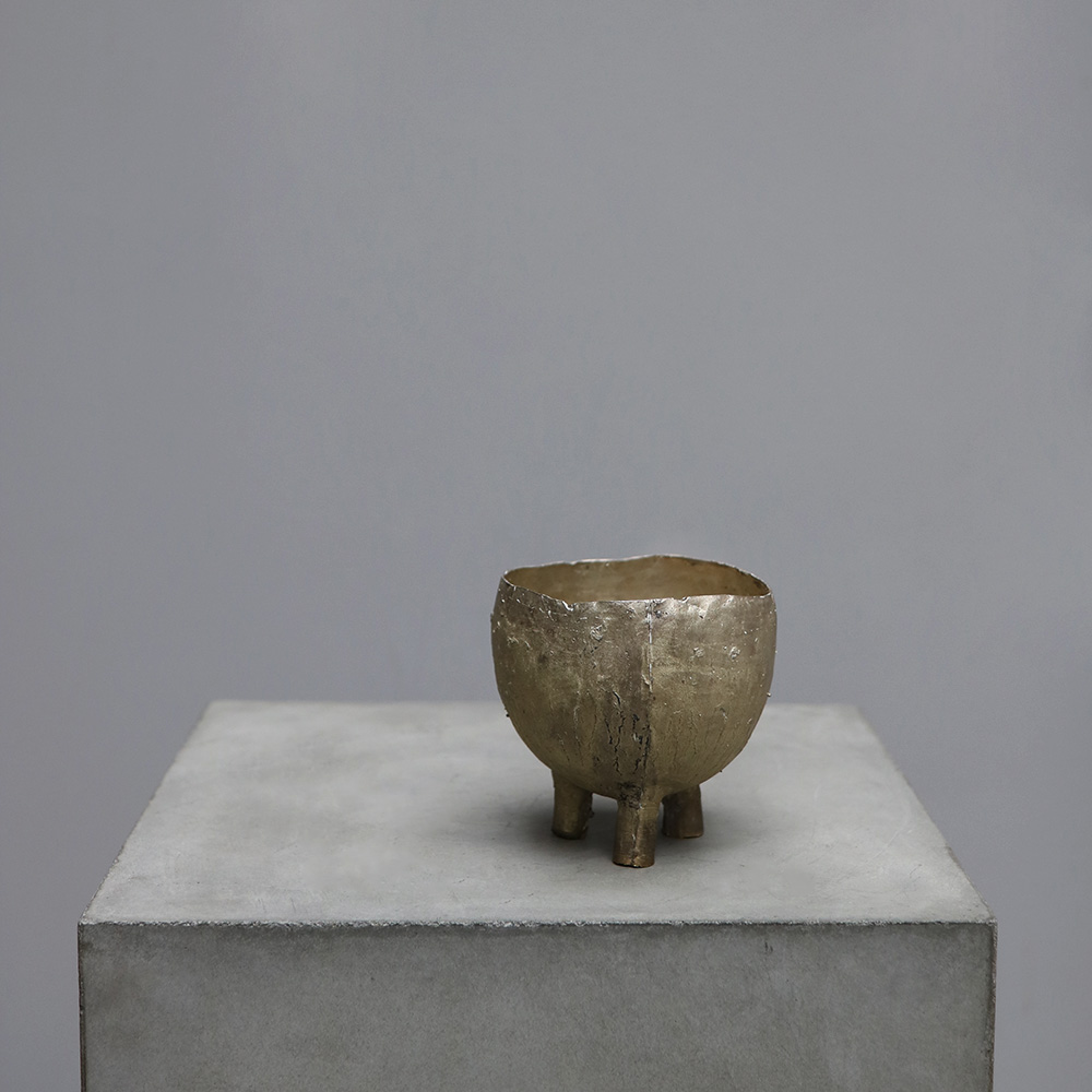 Silver and Brass vessel by german designer peter bauhuis
