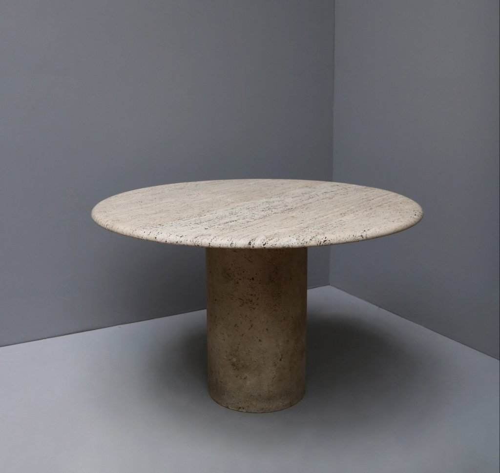 Round travertine table from the 1970s