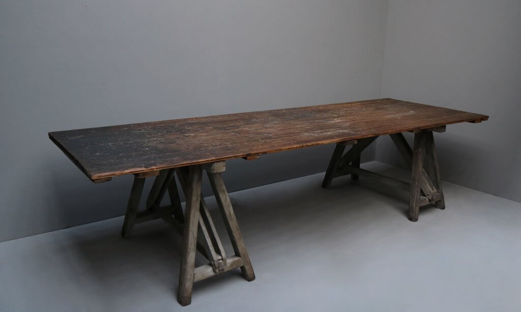 Old atelier table from France made in beautifully patinated wood.