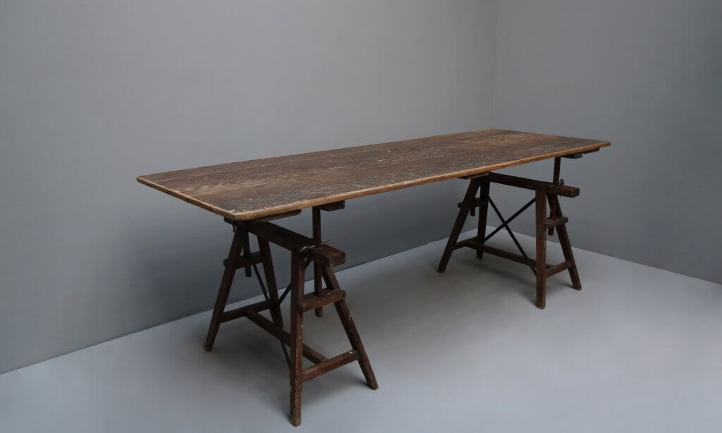 Old trestle atelier table from France made in beautifully patinated wood.