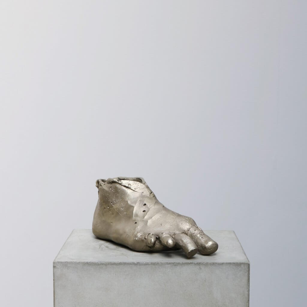 Sculpture titled Pansersko casted in bronze and silver by the Danish artist Kaare Golles.