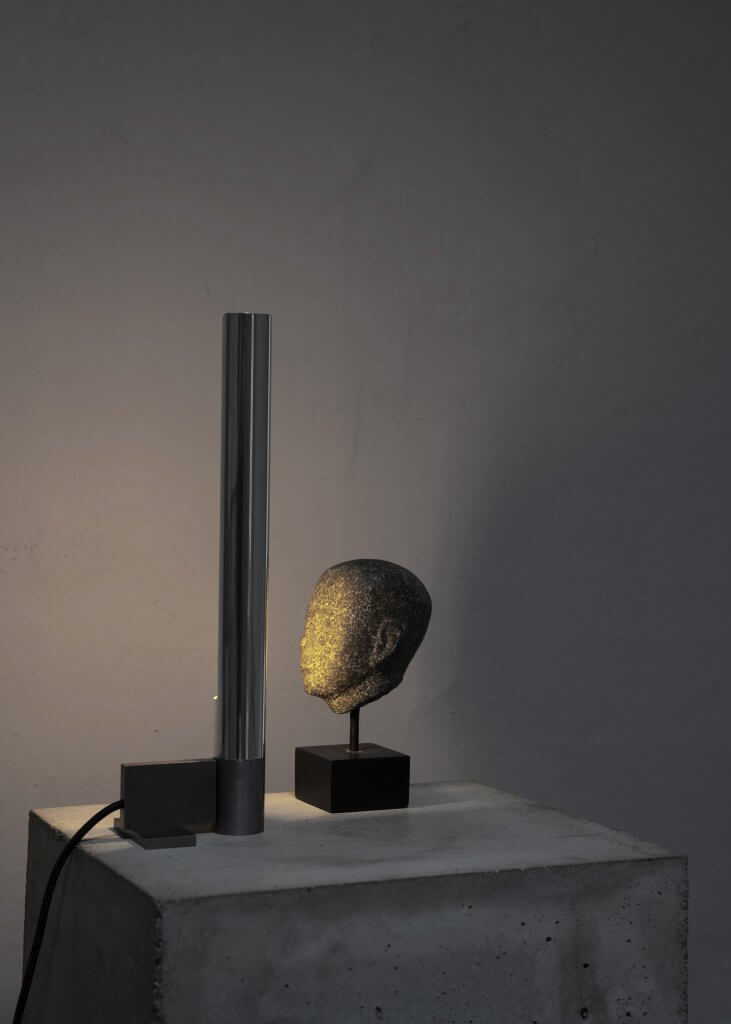 Tribute lamp in iron and silver-plated brass made in a limited edition.